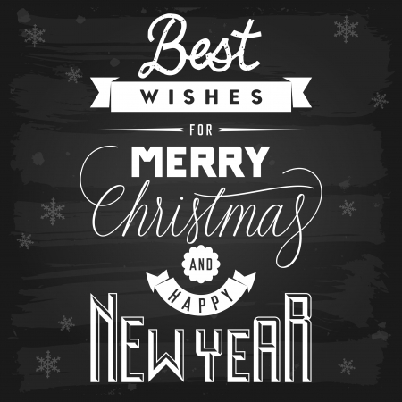 year greetings: Christmas and New Year greetings chalkboard  vector with transparency
