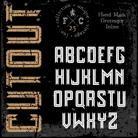 sans serif: Handmade retro font  Sans serif inline type  Grunge textures placed in separate layers  Vector illustration