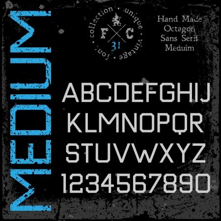 retro font: Mano retr� carattere sans serif di tipo grunge texture collocati in strati separati Vector illustration