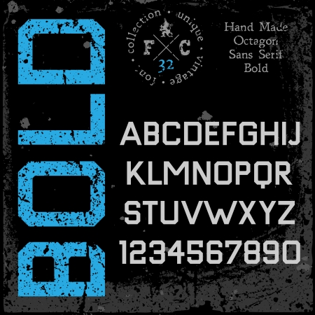 sans serif: Handmade retro font  Sans serif type  Grunge textures placed in separate layers  Vector illustration