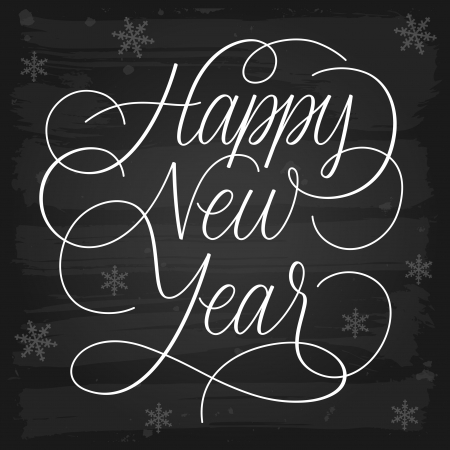 fonts year: Happy New Year greetings chalkboard  EPS-10 vector with transparency