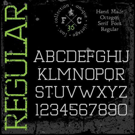 serif: Handmade retro font  Slab serif type  Grunge textures placed in separate layers  Vector illustration  Illustration