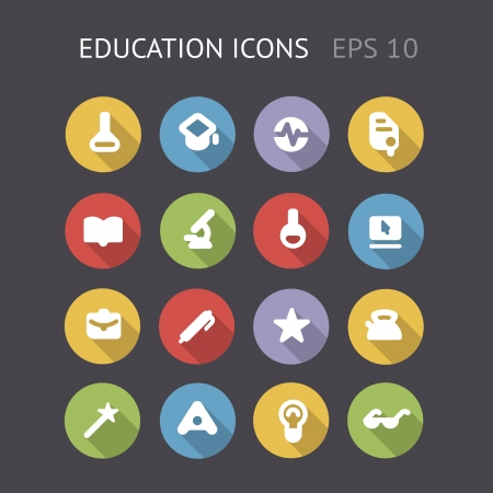 Flat icons for education and science  Vector eps10 contains objects with transparency  Vector