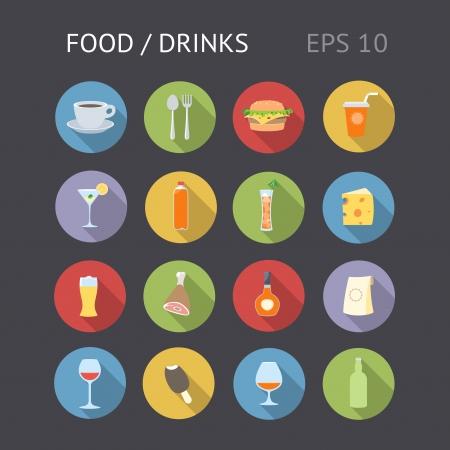 comida: Iconos planos para la alimentación y las bebidas Vector eps10 contiene objetos con transparencia
