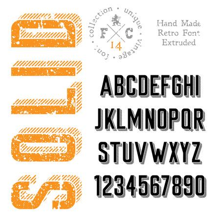 retro font: Carattere retr� Handmade