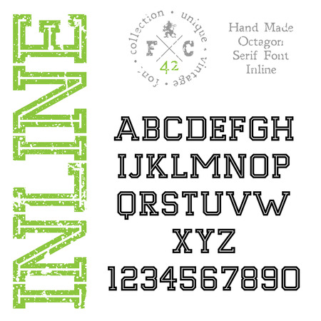 serif: Handmade retro font Slab serif inline type