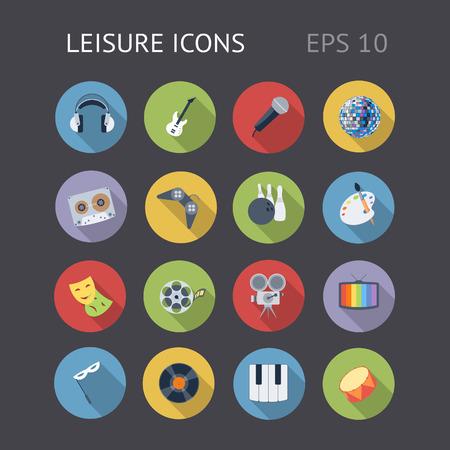 Flat icons for Leisure Vektoros illusztráció