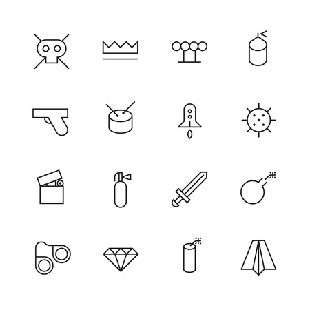 miscellaneous: Thin Line Icons For Miscellaneous Items Illustration