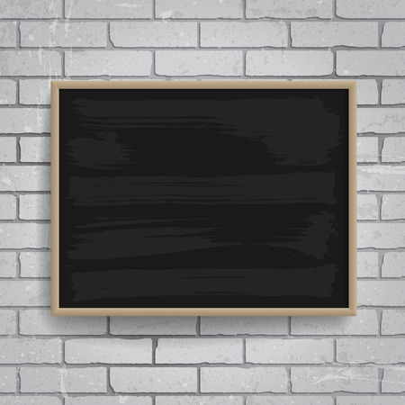 black wood texture: Black chalkboard with wooden frame on brick wall background