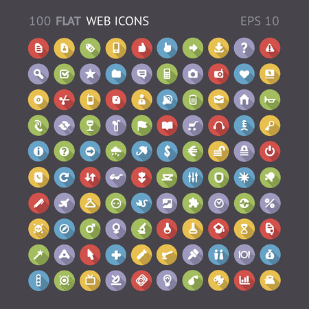 100 Flat web interface icons   contains objects with transparency