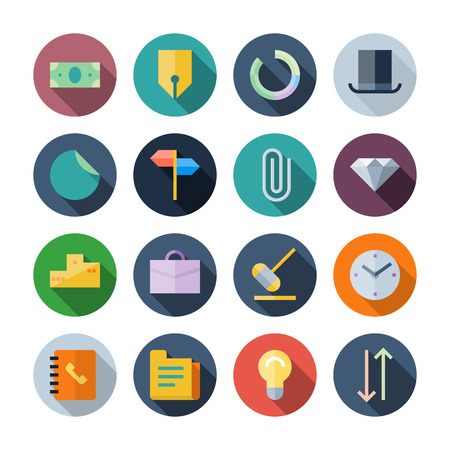 Flat Design Icons For Business transparent shadows  Vector