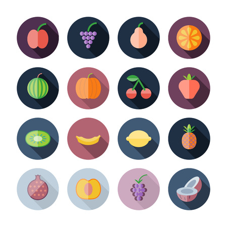 apple clipart: Flat Design Icons For Fruits transparent shadows  Illustration