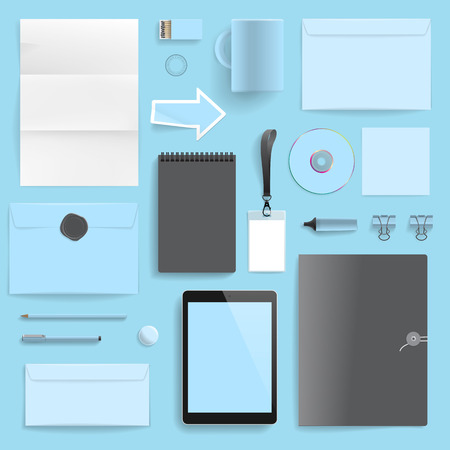 Corporate identity template on blue background  Use layer  Print  in vector file to recolor objects  with transparency  Illustration
