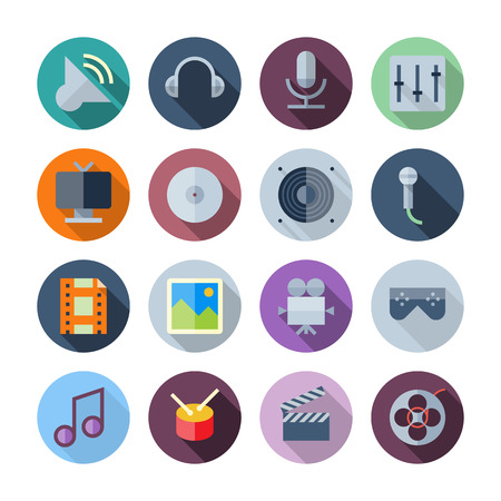 Flat Design Icons For Sound and Music transparent shadows Vector Illustration