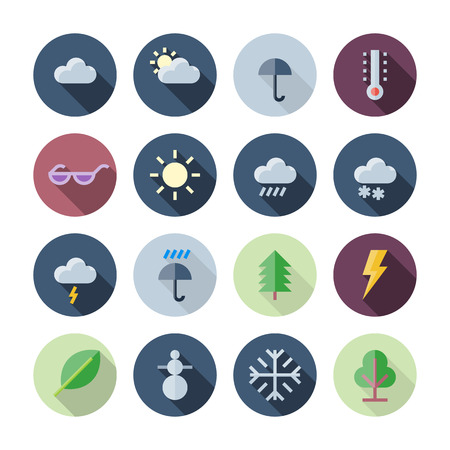 sun clipart: Flat Design Icons For Weather and Nature transparent shadows