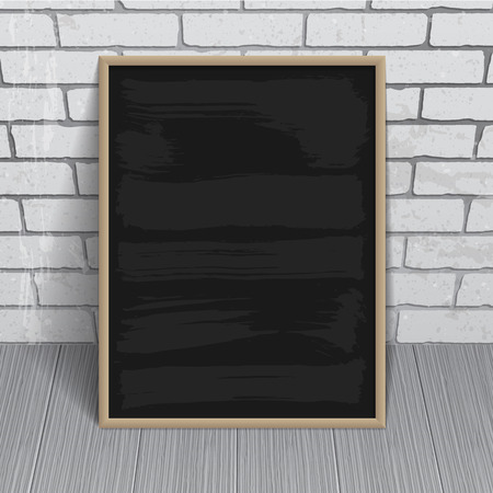 Black chalkboard with wooden frame on brick wall background Vector