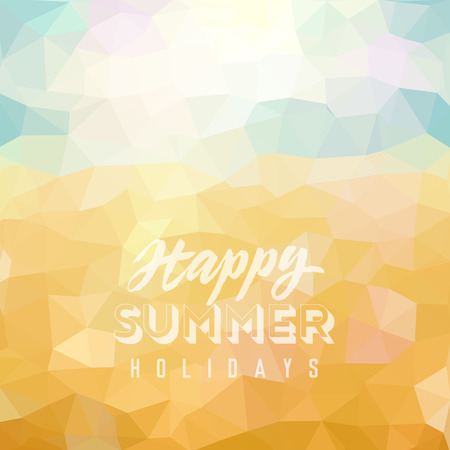 happy summer: Happy summer holidays Poster on tropical beach background