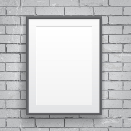 picture frame on wall: Blank paper poster with frame on brick wall background Illustration
