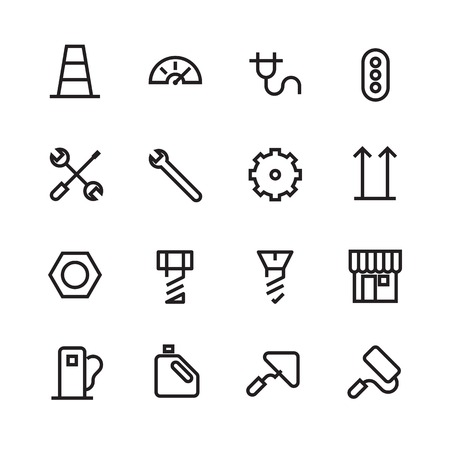 nut bolt: Thin Line Icons For Industrial  Vector