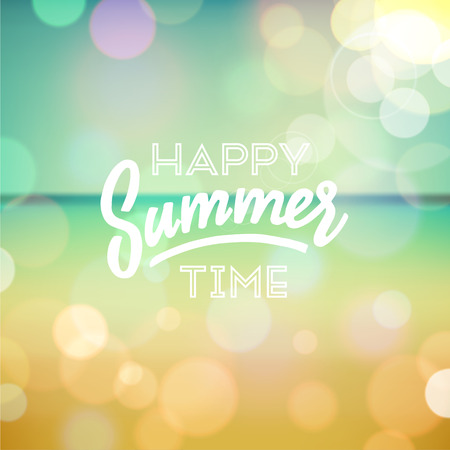 Happy summer time. Poster on tropical beach background.