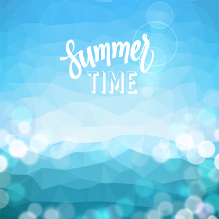 Summer time. Poster on tropical beach background.