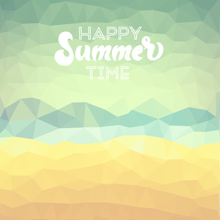 happy summer: Happy summer time. Poster on tropical beach background.