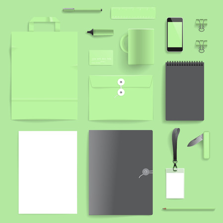 Corporate identity template on light green background   Vector
