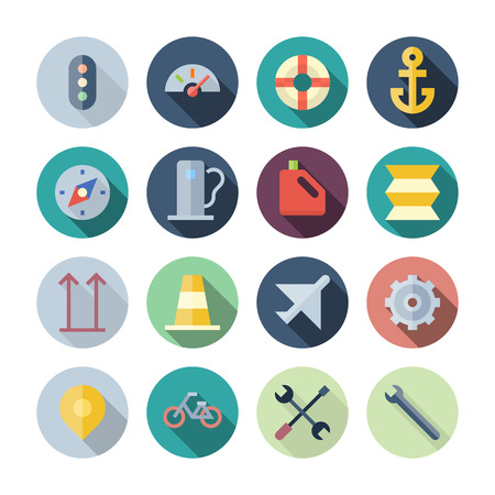 Flat Design Icons For Transportation  transparent shadows  Vector