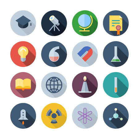 Flat Design Icons For Science and Education   transparent shadows  Vector