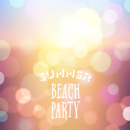 resort beach: Summer beach party  Poster on tropical night bokeh background