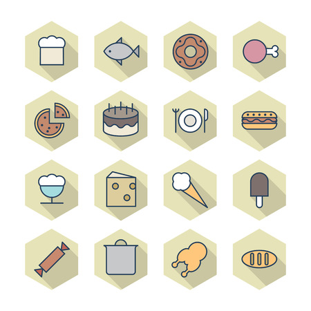 fish icon: Thin Line Icons For Food.  Illustration