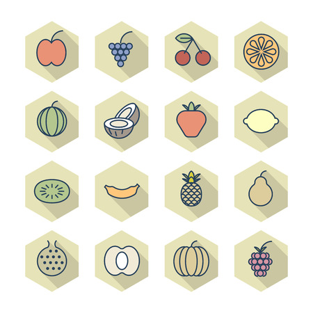 Thin Line Icons For Fruits.  Vector