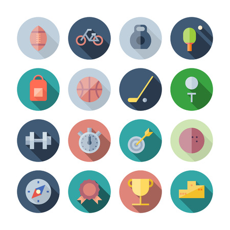 Flat Design Icons For Sport and Fitness.  Illustration