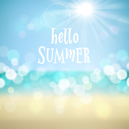 eps10 vector background: Hello summer. Poster on tropical beach background. Vector eps10.