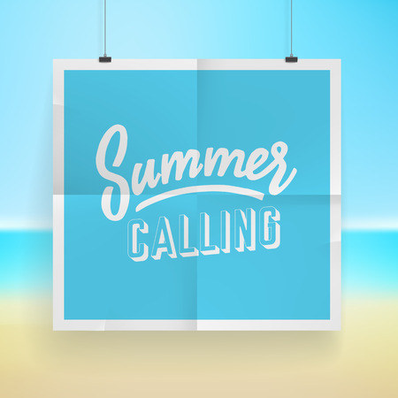 summer background: Summer holiday poster design on tropical beach background.