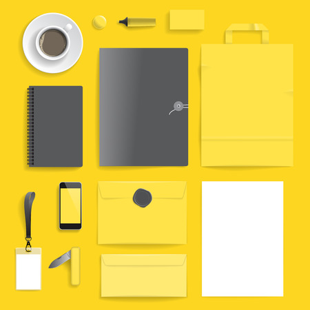 Corporate identity template on yellow background  Use layer. Print  in vector file to recolor objects  Vector