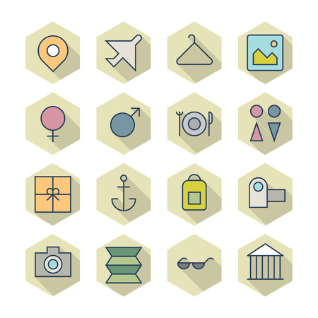 Thin Line Icons For Travel and Resort Vector