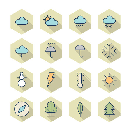 precipitation: Thin Line Icons For Weather and Nature