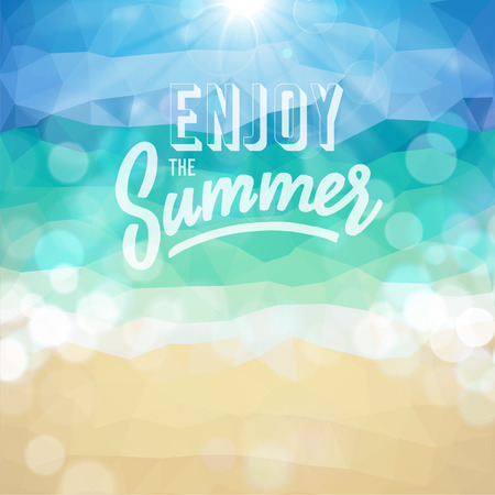 Enjoy the summer  Poster on tropical beach background  Ilustrace