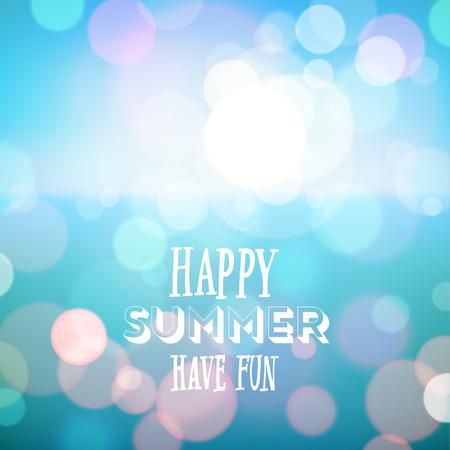 楽しんで: 幸せな夏を楽しみましょう。熱帯のビーチの背景のポスター。