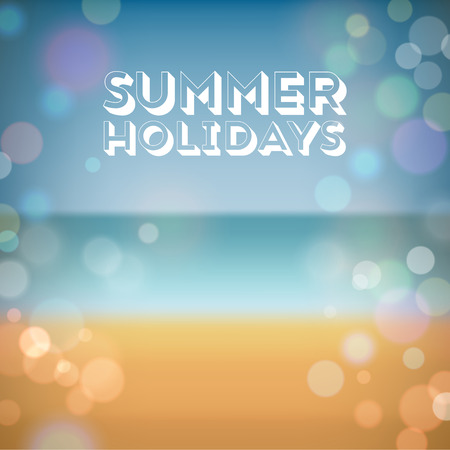 eps10: Summer holidays. Poster on tropical beach background.  Illustration