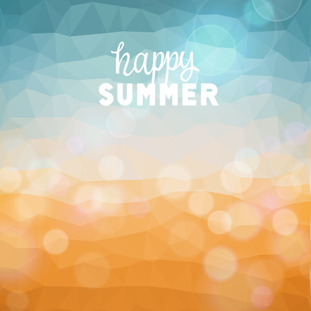 happy summer: Happy summer. Poster on tropical beach background.