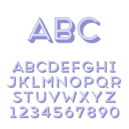 extruded: Fatto a mano tipo di carattere sans-serif Regular 3d-estruso tipo glifo principale e 3d parte estruso posto in strati separati di file vettore