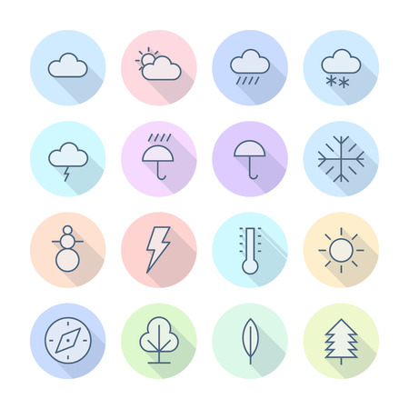 Thin Line Icons For Weather and Nature.  Vector