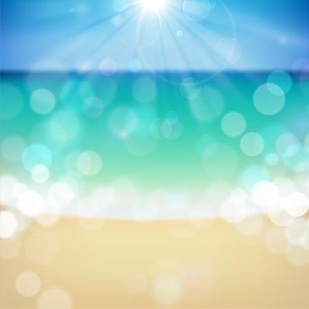 Summer tropical beach bokeh background.
