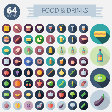 food and drink: Flat Design Icons For Food, Drinks, Fruits and Vegetables  Vector  Illustration