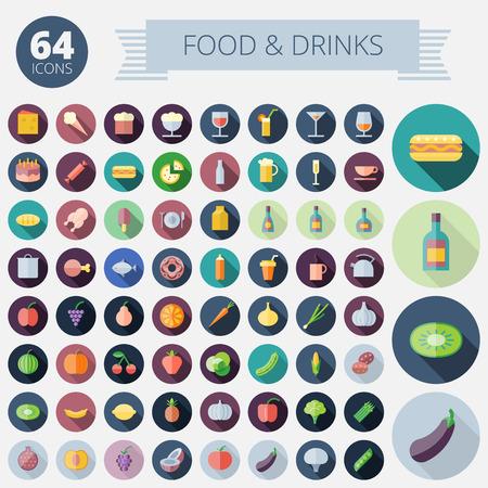comida chatarra: Iconos dise�o plano para la Alimentaci�n, Bebidas, Frutas y Hortalizas vectorial