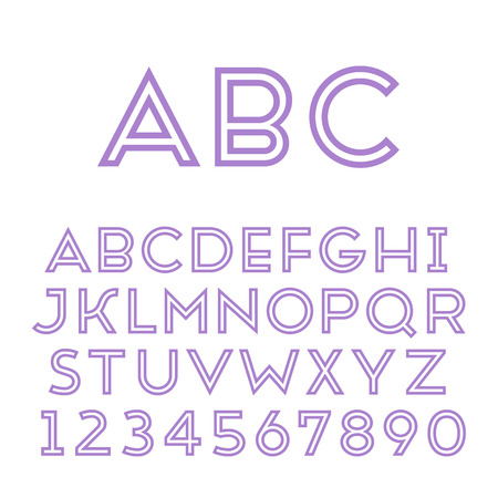 Handmade sans-serif font  Bold inline type  Vector illustration