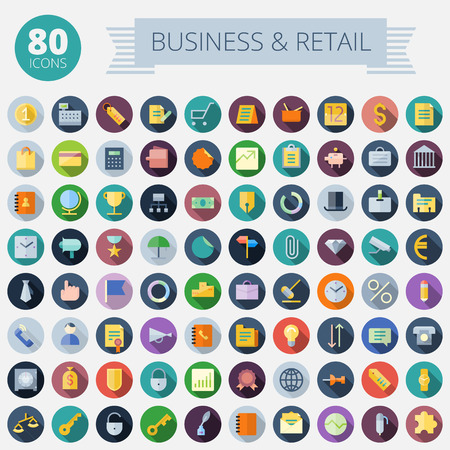 Flat Design Icons For Business, Banking and Retail  Easy to recolor  Transparent shadows and relief in separate layers