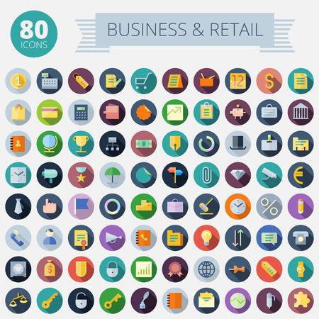 Flat Design Icons for Business, Banking en Retail Makkelijk te Transparante schaduwen en verlichting in afzonderlijke lagen opnieuw te kleuren Stock Illustratie